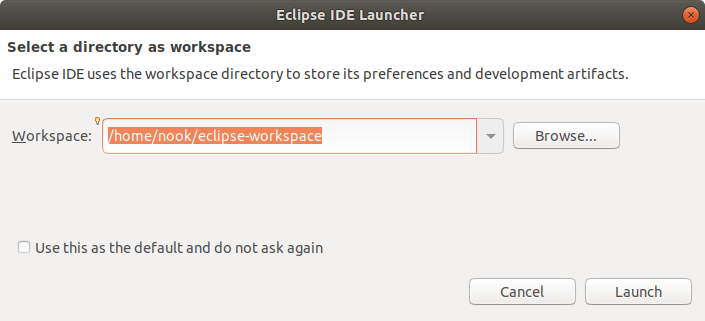 Set Eclipse Workspace