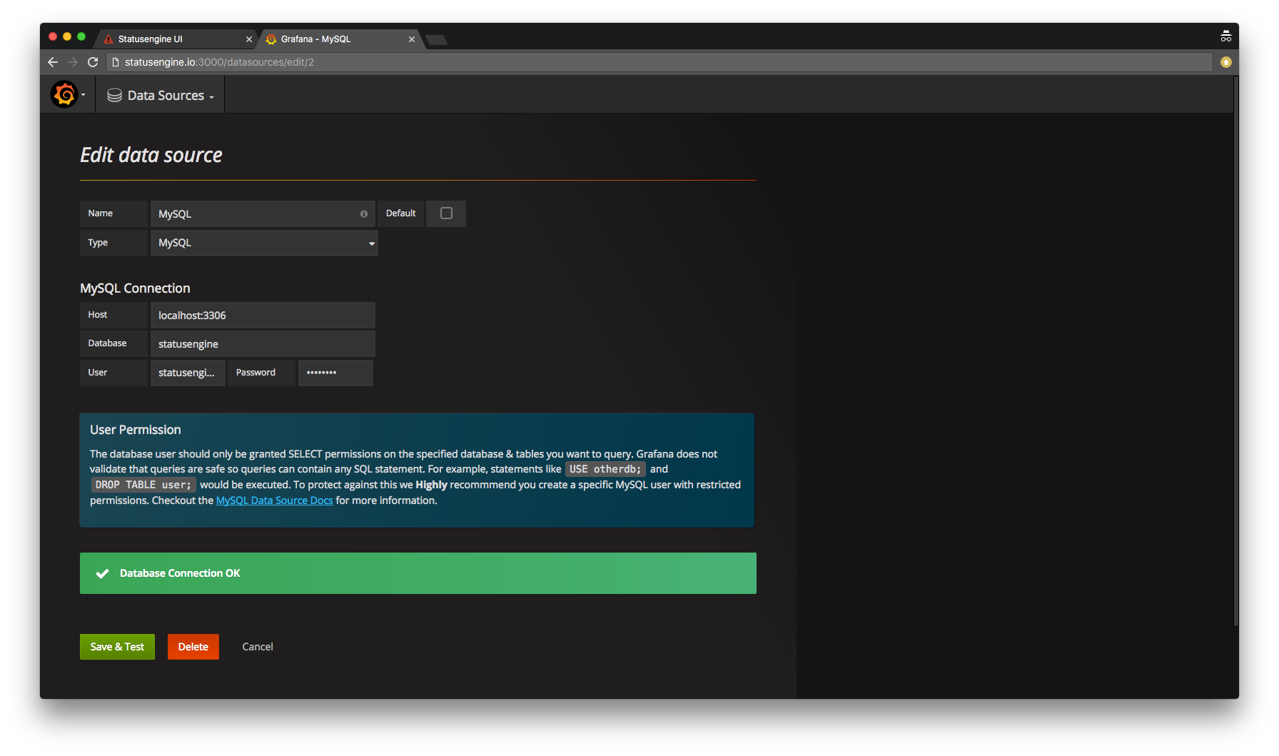 Grafana add MySQL data source