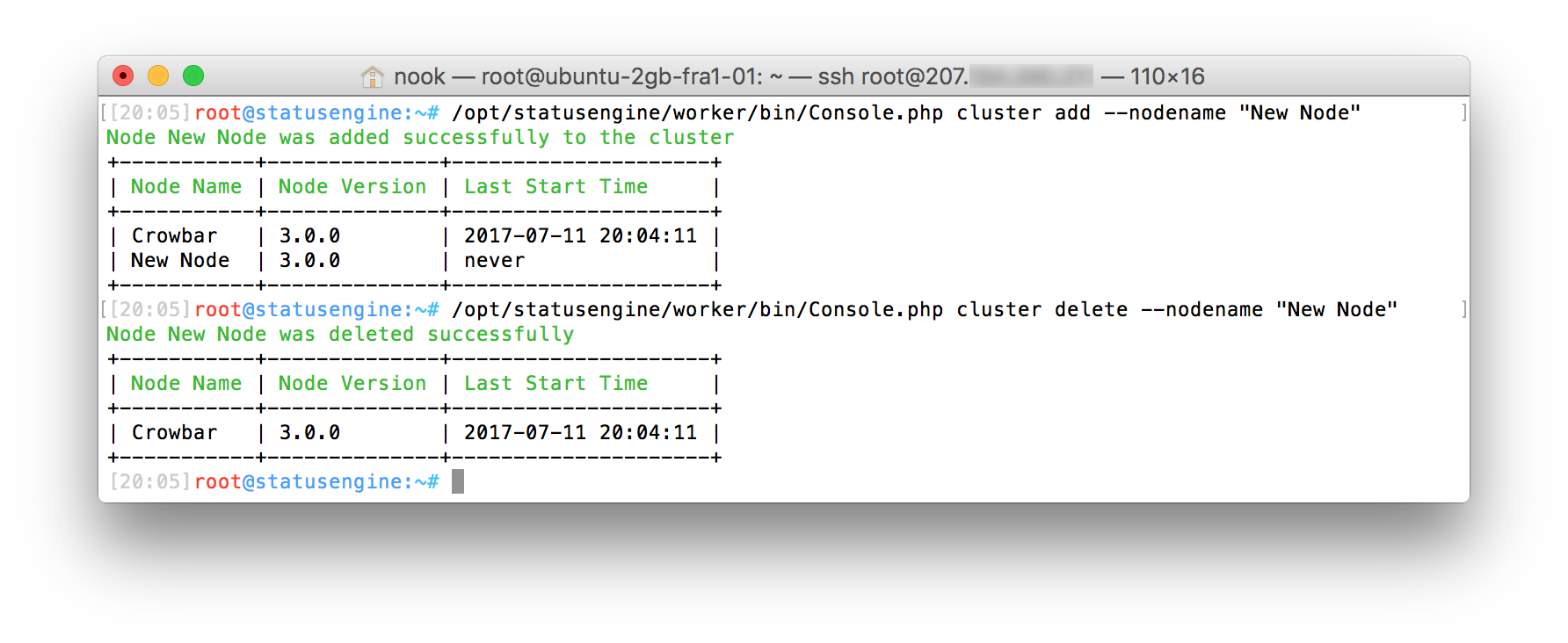 Add or delete a cluster node from Statusengine