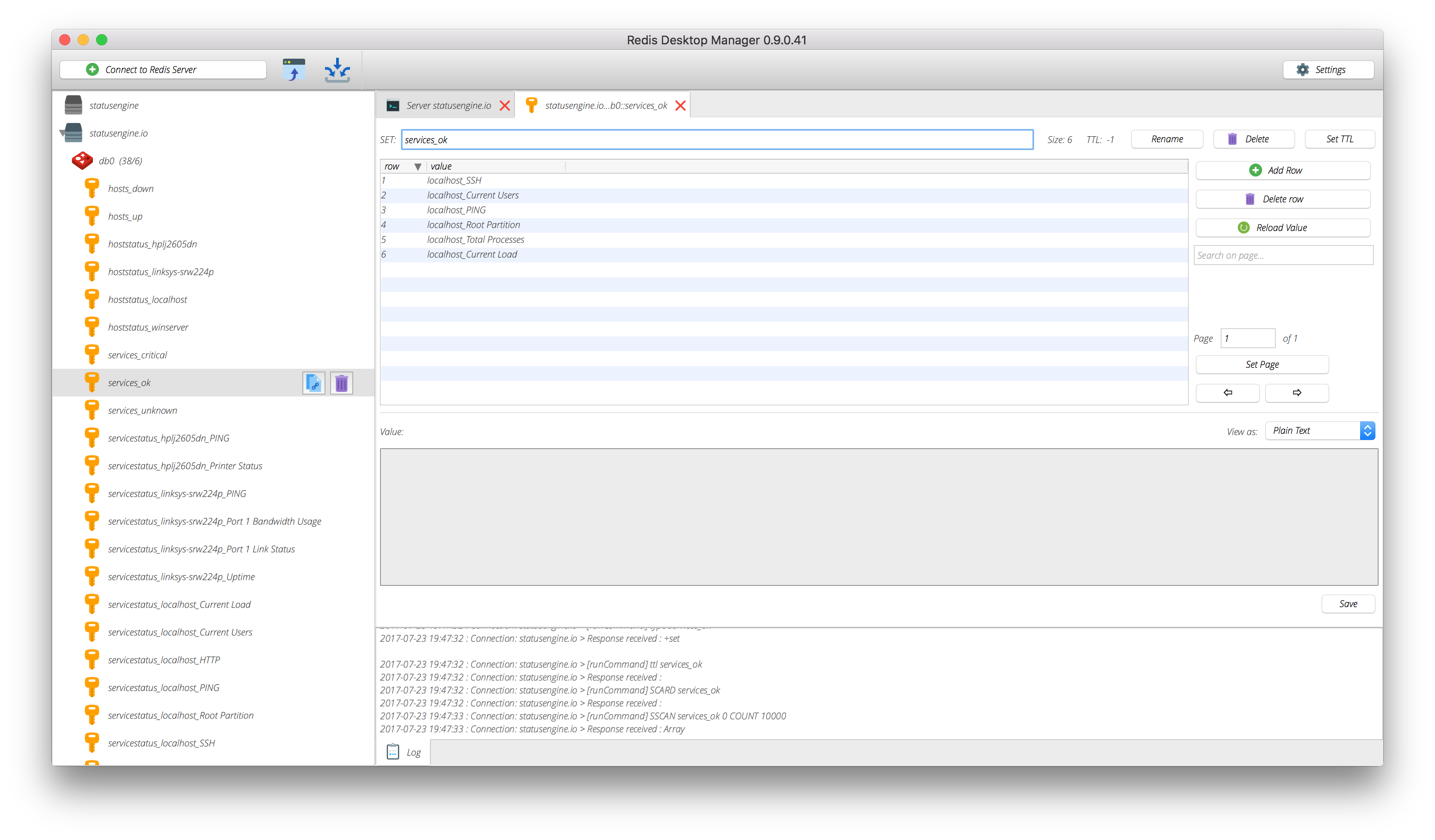 Statusengine live service data in redis