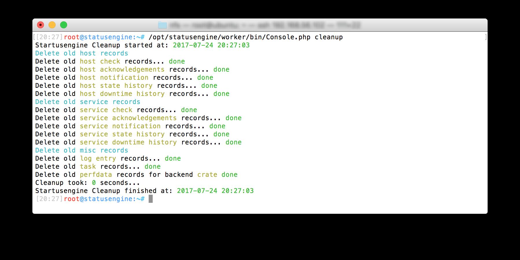 Running Statusengine database cleanup cronjob