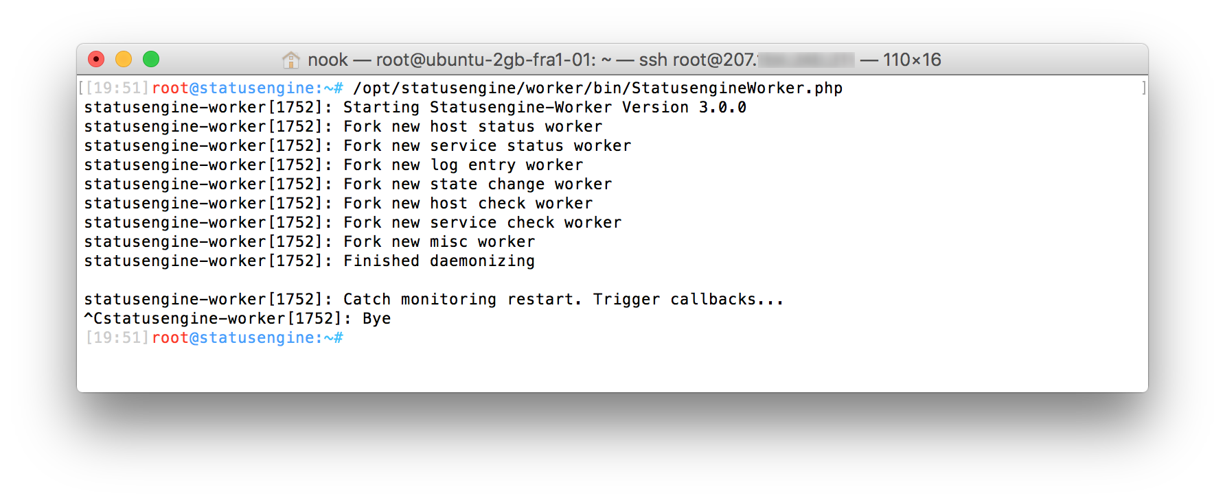 Statusengine Worker running in foreground mode for debugging